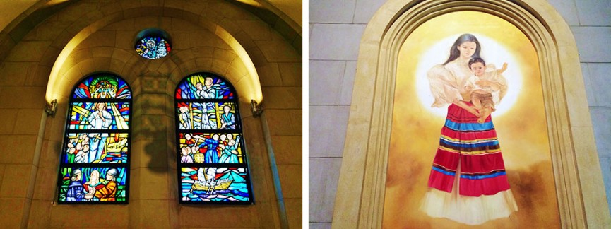 広い礼拝堂にはフィリピンらしさが感じられるステンドグラスや宗教画が展示されています