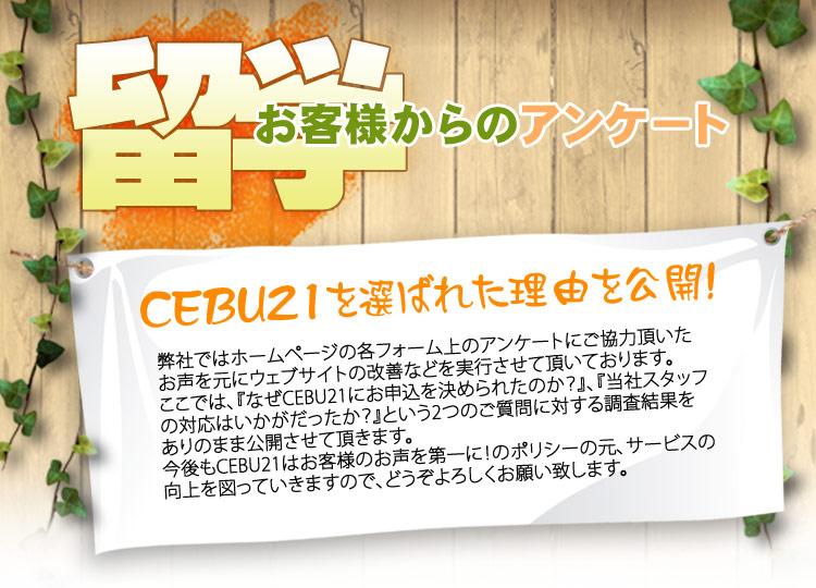 フィリピン留学 CEBU21 お客様からのアンケート